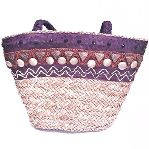 Large Sun-n-Sand Wicker Straw Embroidered Tote